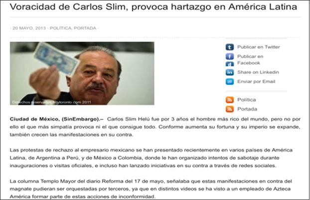 Nota de una página Web mexicana